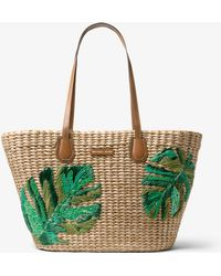 Michael Kors - Malibu Palm Embroidered Woven Straw Tote - Lyst