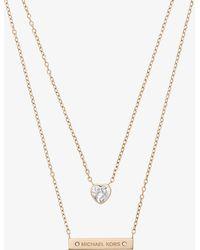 Michael Kors - Gold-tone Double-strand Pendant Necklace - Lyst