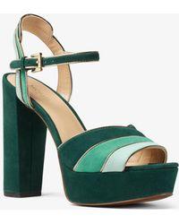 Michael Kors - Harper Tri-color Suede Platform Sandal - Lyst