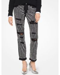 Michael Kors - Embellished Distressed Jeans - Lyst