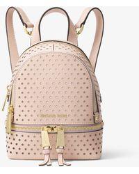 Michael Kors - Rhea Mini Perforated Leather Backpack - Lyst