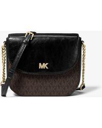 5a18ba8de45b Michael Kors - Mott Logo And Leather Dome Crossbody Bag - Lyst