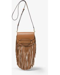 Michael Kors - Cary Small Fringed Leather Saddle Bag - Lyst