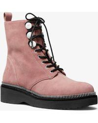 Michael Kors - Tavie Suede Combat Boot - Lyst