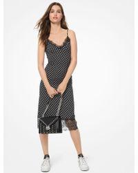 83508e69ec4 Michael Kors Stripe Sequined T-shirt Dress in Black - Lyst