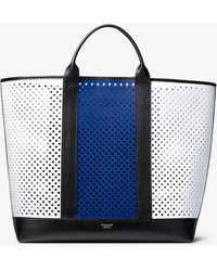 38c7d60417f746 Michael Kors - Georgica Oversized Color-block Perforated Leather Tote Bag -  Lyst