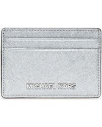 Michael Kors - Jet Set Travel Metallic Saffiano Leather Card Case - Lyst