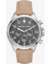Michael Kors - Gage Silver-tone And Leather Watch - Lyst