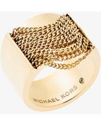 Michael Kors - Gold-tone Chain Ring - Lyst