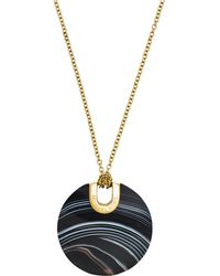 Michael Kors - Gold-tone Black Agate Pendant Necklace - Lyst