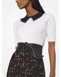 Michael Kors - Pearl Embroidered Cashmere Trompe L'oeil Pullover - Lyst