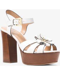 ad8fc63571c1 Michael Kors - Tara Floral Embellished Leather Platform Sandal - Lyst