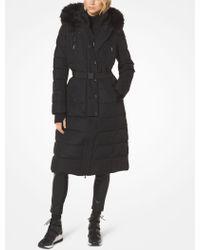 Michael Kors - Faux Fur-trimmed Belted Puffer Jacket - Lyst