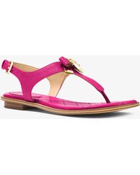 Michael Kors - Alice Saffiano Leather Sandal - Lyst