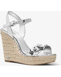 Michael Kors - Jill Floral Sequined Metallic Wedge - Lyst
