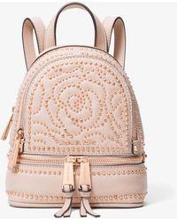 3dda8f7d805a Michael Kors - Rhea Mini Rose Studded Leather Backpack - Lyst
