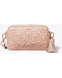 1ac0eecba Michael Kors Mercer Floral Embellished Leather Crossbody Bag in Pink ...
