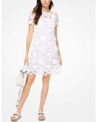 da1d658f9b0 Lyst - MICHAEL Michael Kors Embroidered Linen Split Neck Shift Dress ...