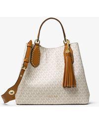 6dc121a627e1 MICHAEL Michael Kors Women s Brooklyn Large Grab Bag in Brown - Lyst