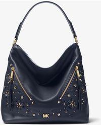 Michael Kors - Evie Large Floral Embellished Pebbled Leather Shoulder Bag - Lyst
