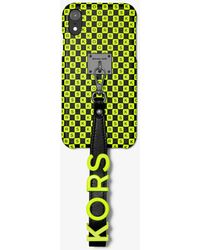 MICHAEL Michael Kors - Neon Checkerboard Logo Leather Wristlet Case For Iphone Xr - Lyst