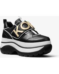 Michael Kors - Cortlandt Embellished Leather Platform Trainer - Lyst