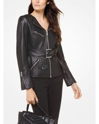 Michael Kors - Leather Belted Moto Jacket - Lyst