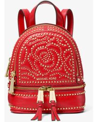 b8880359efaf6 Michael Kors - Rhea Mini Rose Studded Leather Backpack - Lyst