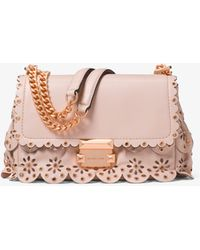 Michael Kors - Sloan Small Floral Scalloped Leather Shoulder Bag - Lyst