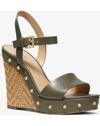 b4b310ec46ba Michael Kors Brown Ellen Wedge Sandals in Brown - Lyst