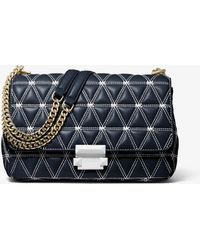 87726294ae1e Michael Kors Sloan Large Quilted-leather Shoulder Bag in Black - Lyst