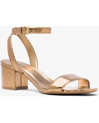 Michael Kors - Brena Metallic Embossed Leather Sandal - Lyst