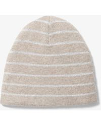 fc6a919fe5f Michael Kors - Striped Cashmere-blend Reversible Beanie - Lyst