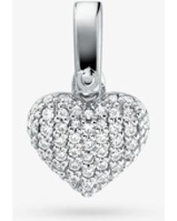 Michael Kors - Precious Metal-plated Sterling Silver Pave Heart Charm - Lyst