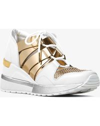 Michael Kors - Beckett Metallic And Leather Trainer - Lyst