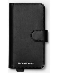 MICHAEL Michael Kors - Embellished Leather Hand-strap Folio Case For Iphone X/xs - Lyst