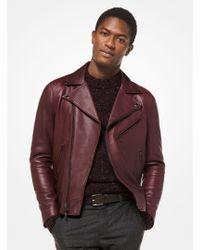 e2aa9d00dd Michael Kors Harrington Leather Jacket in Blue for Men - Lyst
