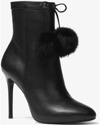 Michael Kors - Remi Pom-pom Leather Ankle Boot - Lyst
