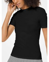 4177c055a Lyst - Michael Kors Logo Tape Stretch-viscose Cropped T-shirt in Black
