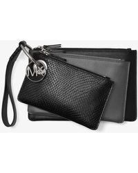 Michael Kors - Two-tone Leather Pouch Trio - Lyst