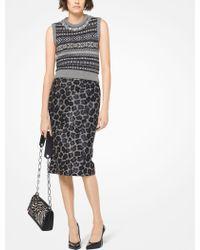 Michael Kors - Leopard Calf Hair Pencil Skirt - Lyst