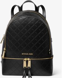 32dadc31f4a2 Michael Kors - Rhea Medium Chain-embossed Leather Backpack - Lyst