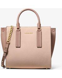 269626753101 Michael Kors - Alessa Medium Color-block Pebbled Leather Satchel - Lyst