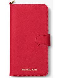 Michael Kors - Saffiano Leather Folio Phone Case For Iphone 7 Plus - Lyst
