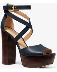 Michael Kors - Burke Leather Platform Sandal - Lyst