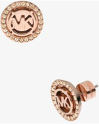 Michael Kors - Logo Rose Gold-tone Stud Earrings - Lyst