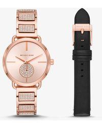 Michael Kors - Women's Portia Rose Gold-tone Stainless Steel Watch Set - Lyst