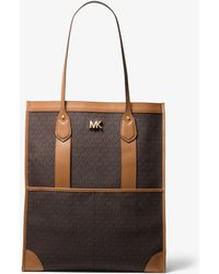 4e9c4735a7 Michael Kors Emry Extra-large Leather Tote in Blue - Lyst