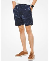 Michael Kors - Pantalón corto de algodón elástico con estampado tropical - Lyst