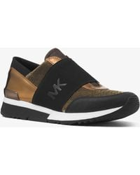 Michael Kors - Metallic And Canvas Logo Trainer - Lyst